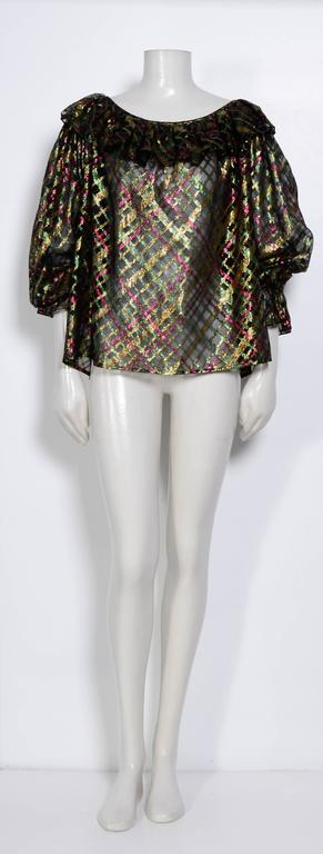 "1970s Yves Saint Laurent ""Rive Gauche"" Important Silk Metallic Blouse   2"