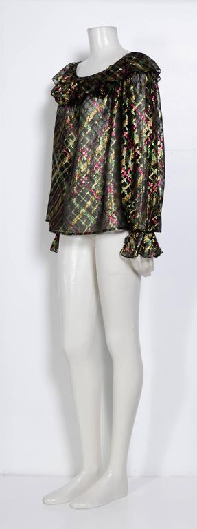 """Black 1970s Yves Saint Laurent """"Rive Gauche"""" Important Silk Metallic Blouse   For Sale"""