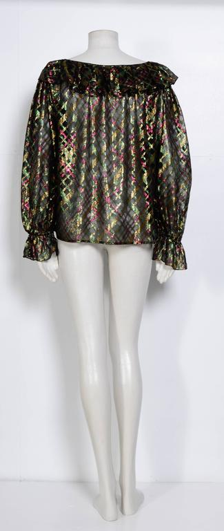"1970s Yves Saint Laurent ""Rive Gauche"" Important Silk Metallic Blouse   4"