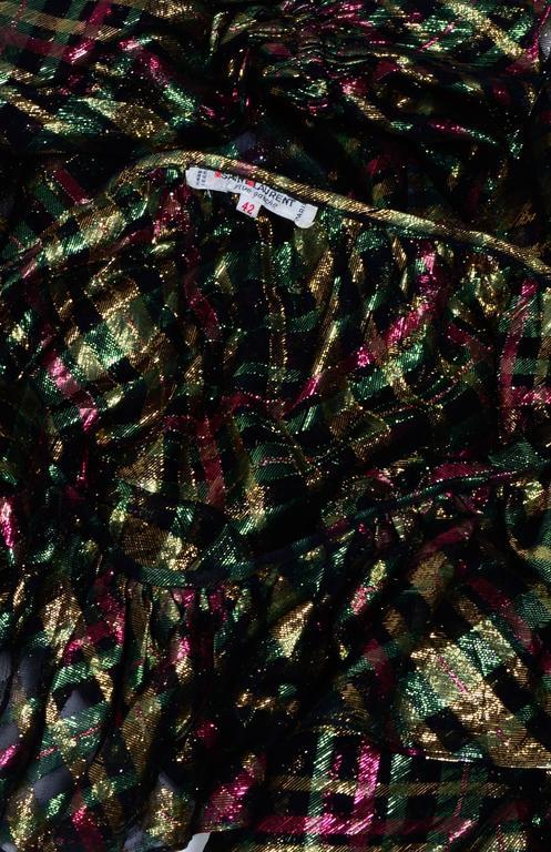 """Women's 1970s Yves Saint Laurent """"Rive Gauche"""" Important Silk Metallic Blouse   For Sale"""