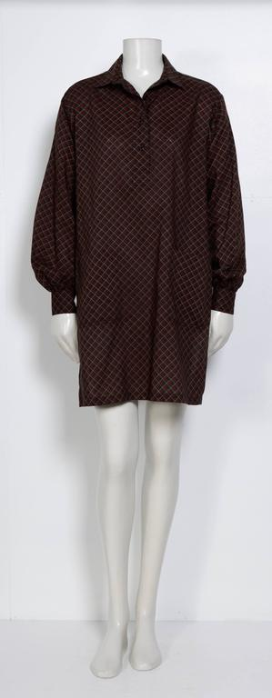 Yves Saint Laurent Rive Gauche 70's Wool Tunic Blouse - Excellent Condition - 100% Wool - Measurements taken flat : Ua to Ua 21inch/53cm - Sh to Sh 17,5inch/44cm - Waist 21inch/53cm - TL 35inch/89cm