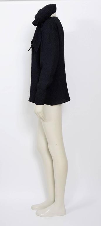 Black Vintage 1970s Yves saint Laurent black silk blouse For Sale