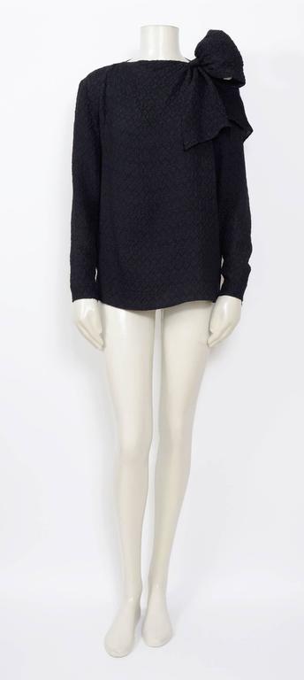 Vintage 70's YVES SAINT LAURENT Black Silk Cloque Blouse..... Ua to Ua 22inch/56cm - Waist 21inch/53cm -  Total Length 25inch/64cm