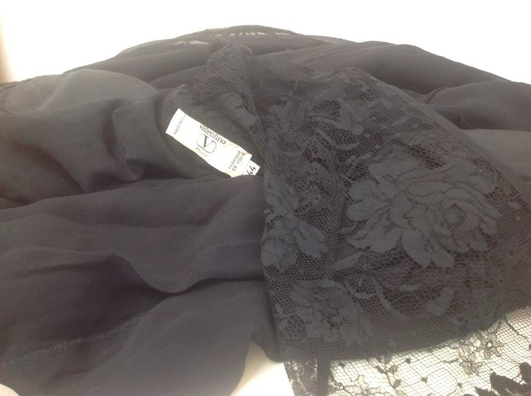 Women's or Men's Vintage Valentino Black Lace Blouse. For Sale
