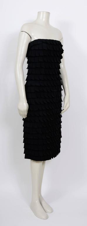 Iconic TOM FORD for Gucci Fall 2001 Black Silk Bustier Post-It Dress 2