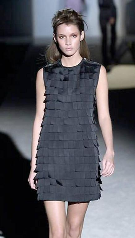 Iconic TOM FORD for Gucci Fall 2001 Black Silk Bustier Post-It Dress 10