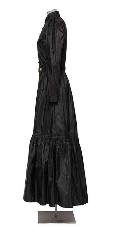 Women's GUY LAROCHE 1970's Black Silk Taffeta Boho Dress With Belt For Sale