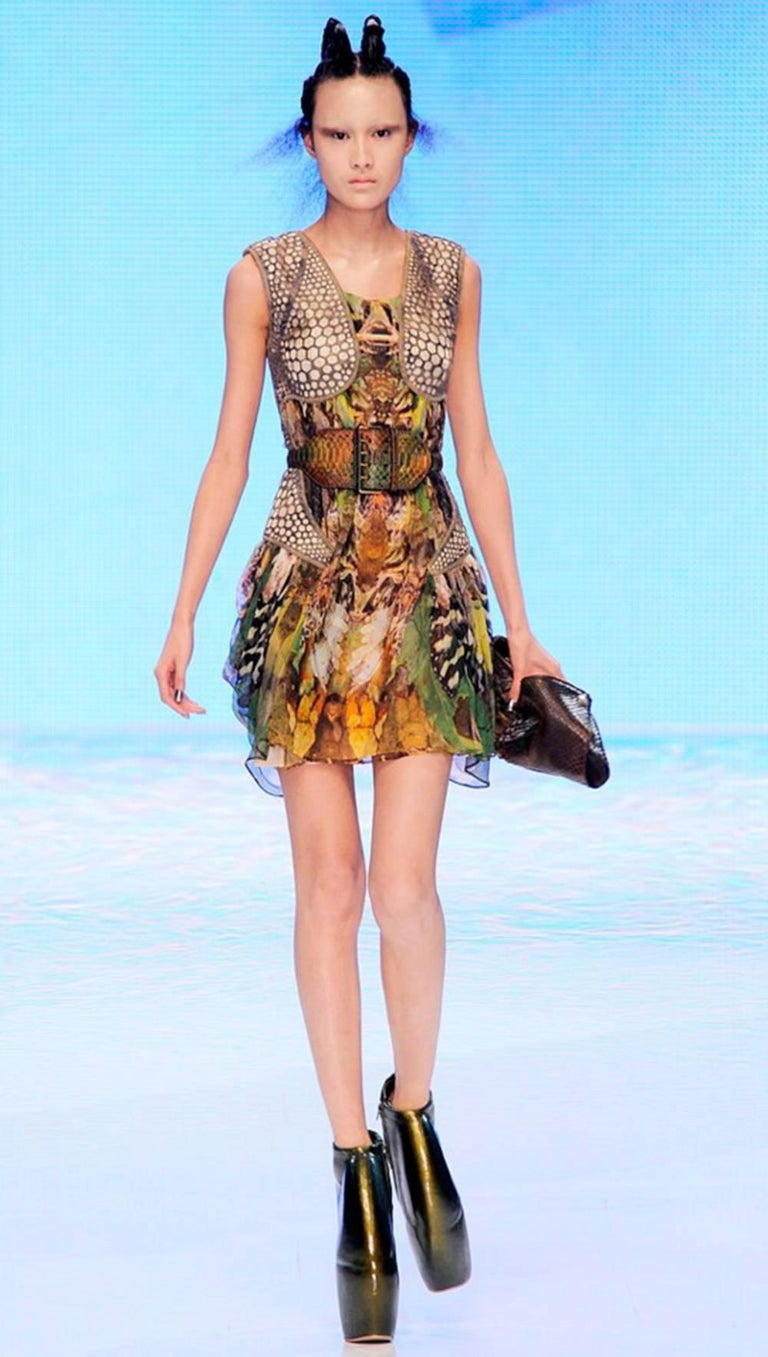 Alexander McQueen Plato's Atlantis Silk Dress with Leather Harness 3