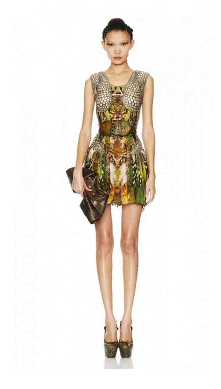 Alexander McQueen Plato's Atlantis Silk Dress with Leather Harness 8