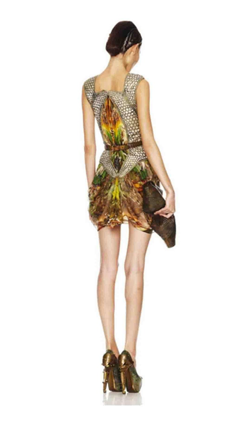 Alexander McQueen Plato's Atlantis Silk Dress with Leather Harness 9