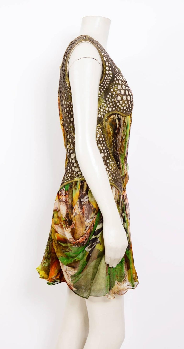 Alexander McQueen Plato's Atlantis Silk Dress with Leather Harness 5
