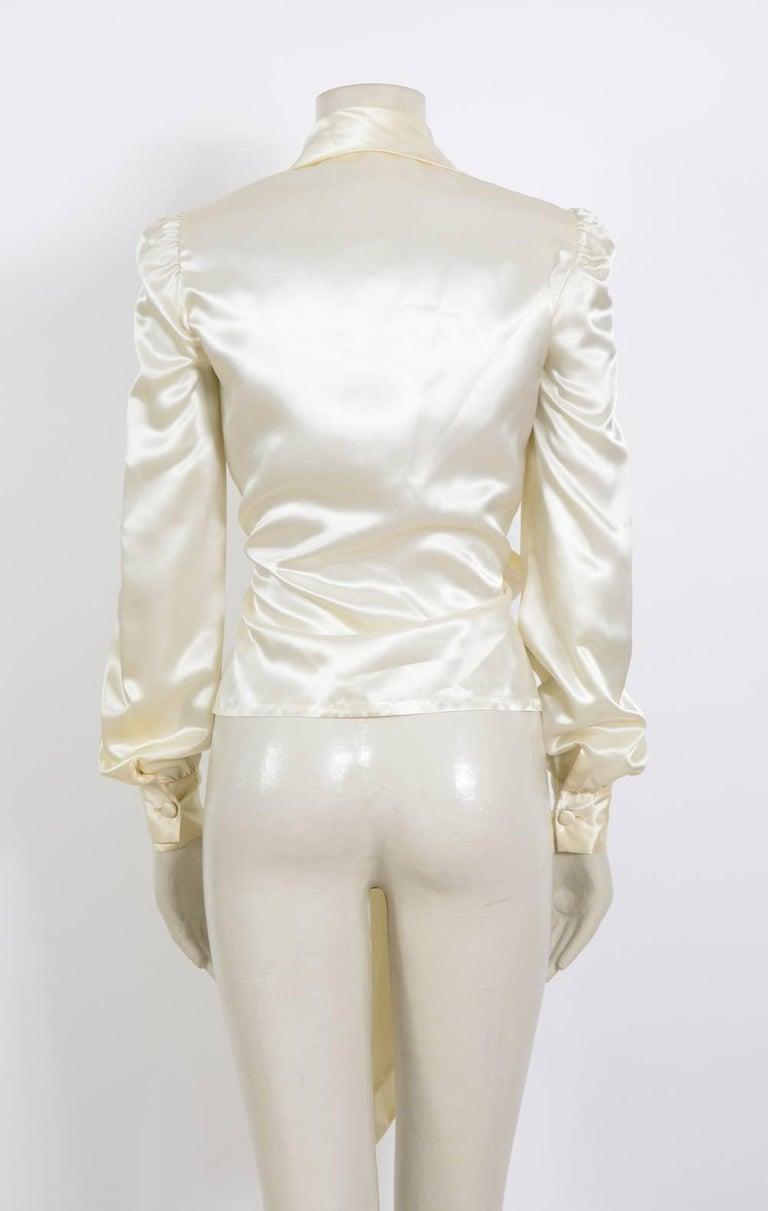 Women's JEAN PATOU 1970s Silk Satin Creme Wrap Top For Sale