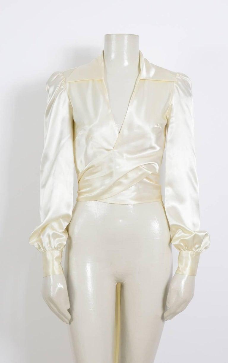 Beige JEAN PATOU 1970s Silk Satin Creme Wrap Top For Sale