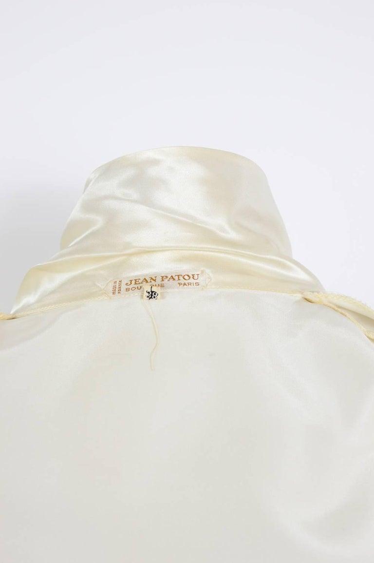 JEAN PATOU 1970s Silk Satin Creme Wrap Top For Sale 2