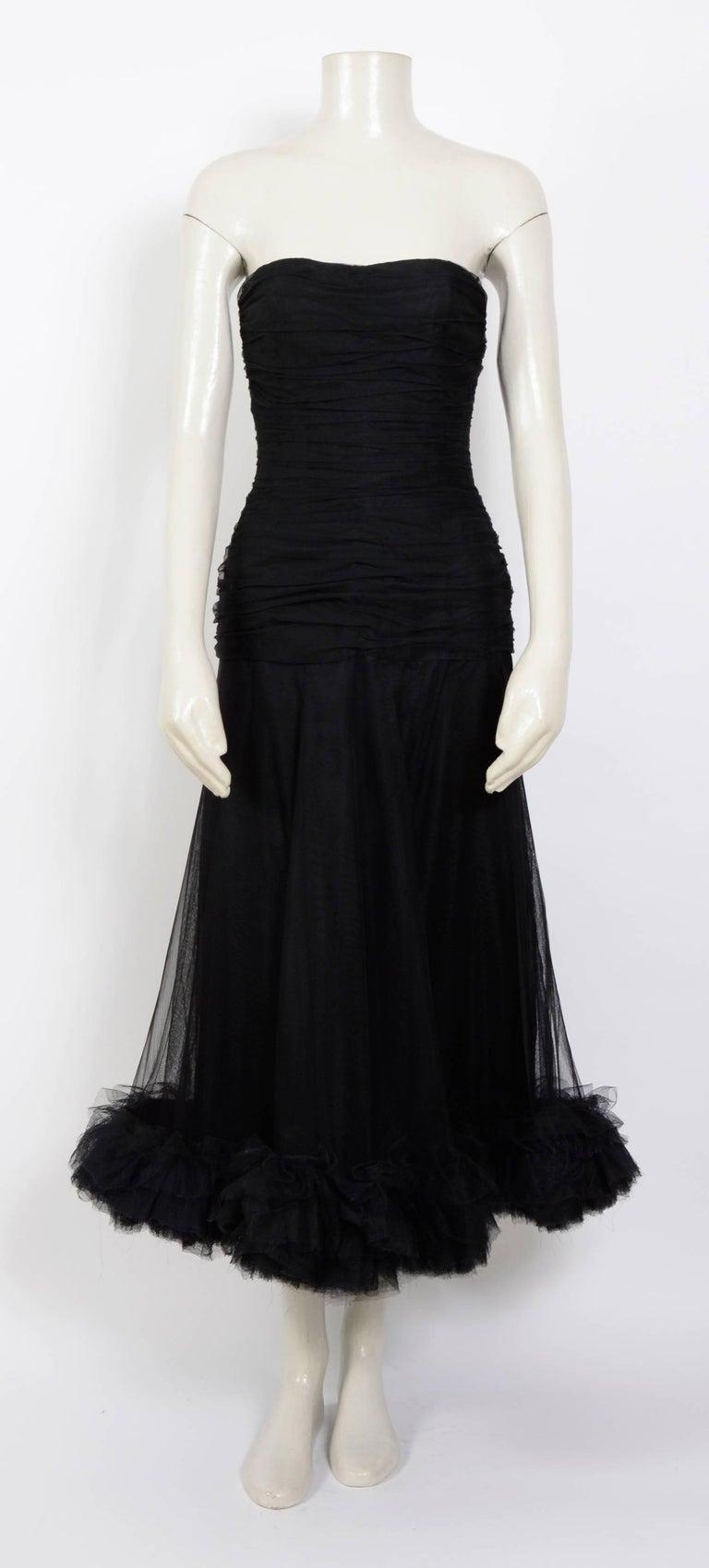 Christian Dior vintage 1950s black tulle/silk ruched ...