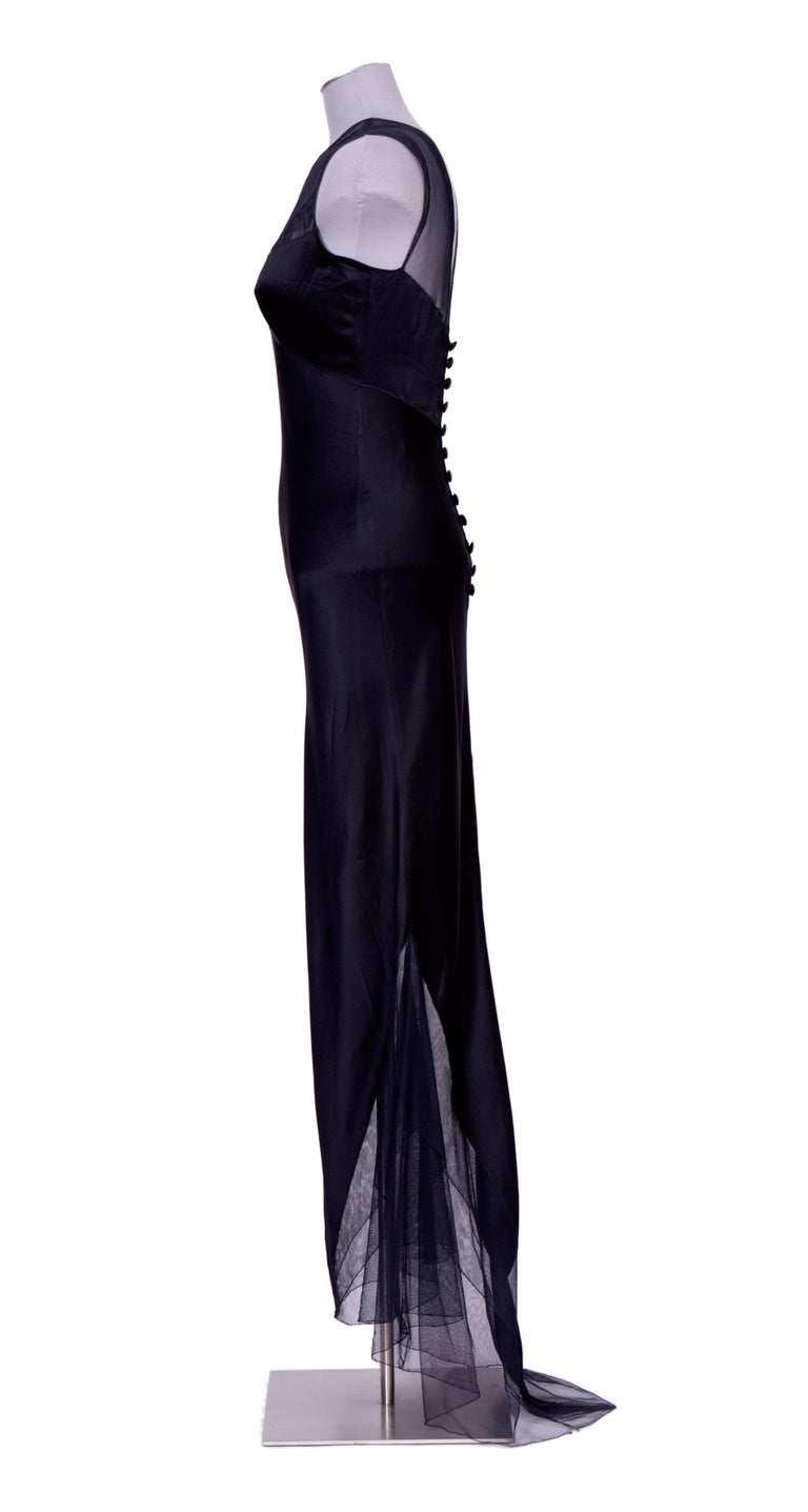 Early 90's 100% silk and tulle black evening dress by Karl Lagerfeld. French Size 38, please go by measurements taken flat for the perfect fit. UA to UA 17inch/43cm - Waist 14inch/36cm - Hips 19inch/48cm -  Front total length from shoulder to hem