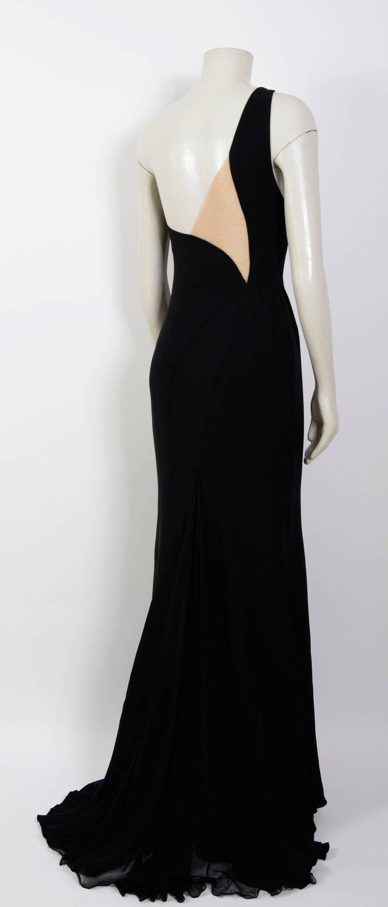 Women's Gianni Versace black silk chiffon one shoulder open back gown, 1990s  For Sale