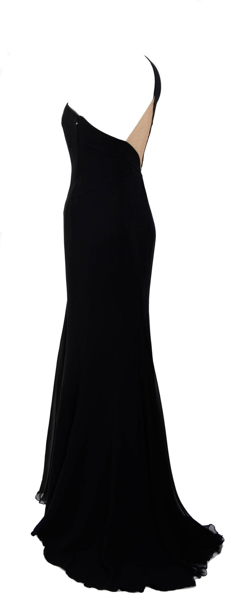 Gianni Versace black silk chiffon one shoulder open back gown, 1990s  In Excellent Condition For Sale In Antwerp, BE