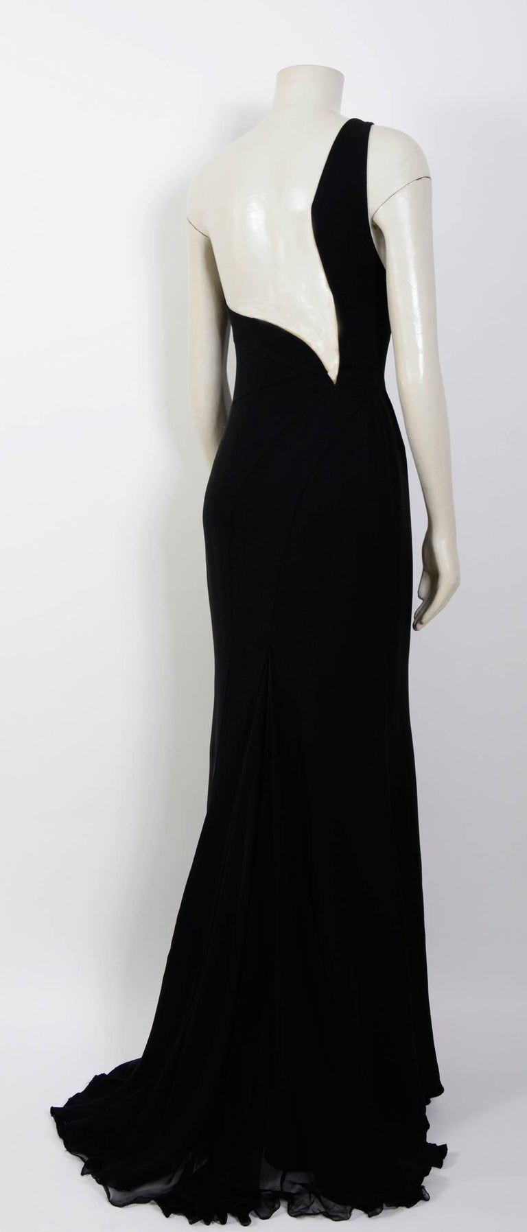 Black Gianni Versace black silk chiffon one shoulder open back gown, 1990s  For Sale