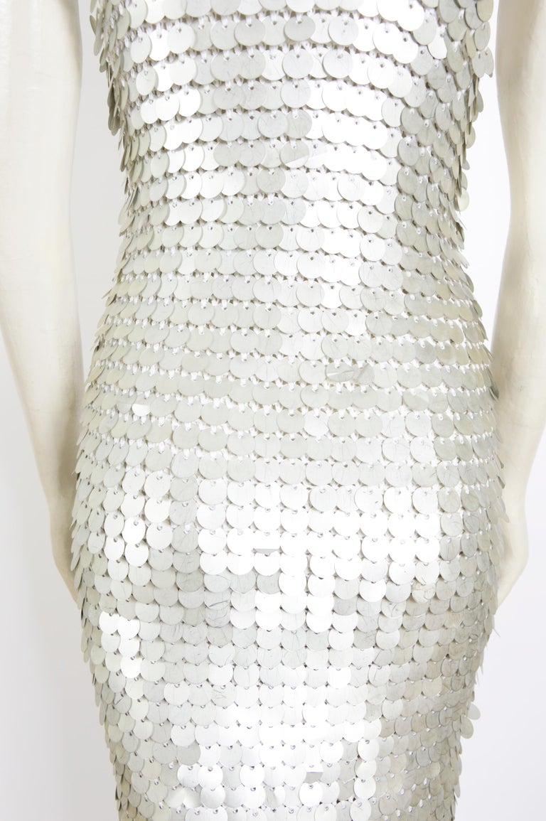 Vintage 1970 sheer white crochet and silver metallic disc sequins slip dress For Sale 2