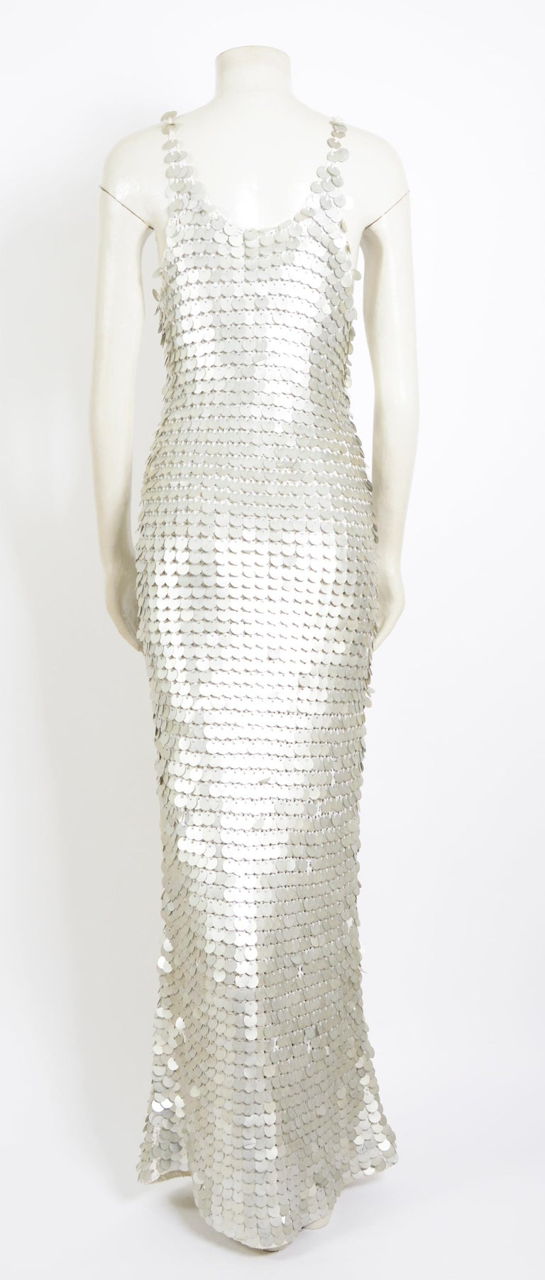 Vintage 1970 sheer white crochet and silver metallic disc sequins slip dress In Good Condition For Sale In Antwerp, BE