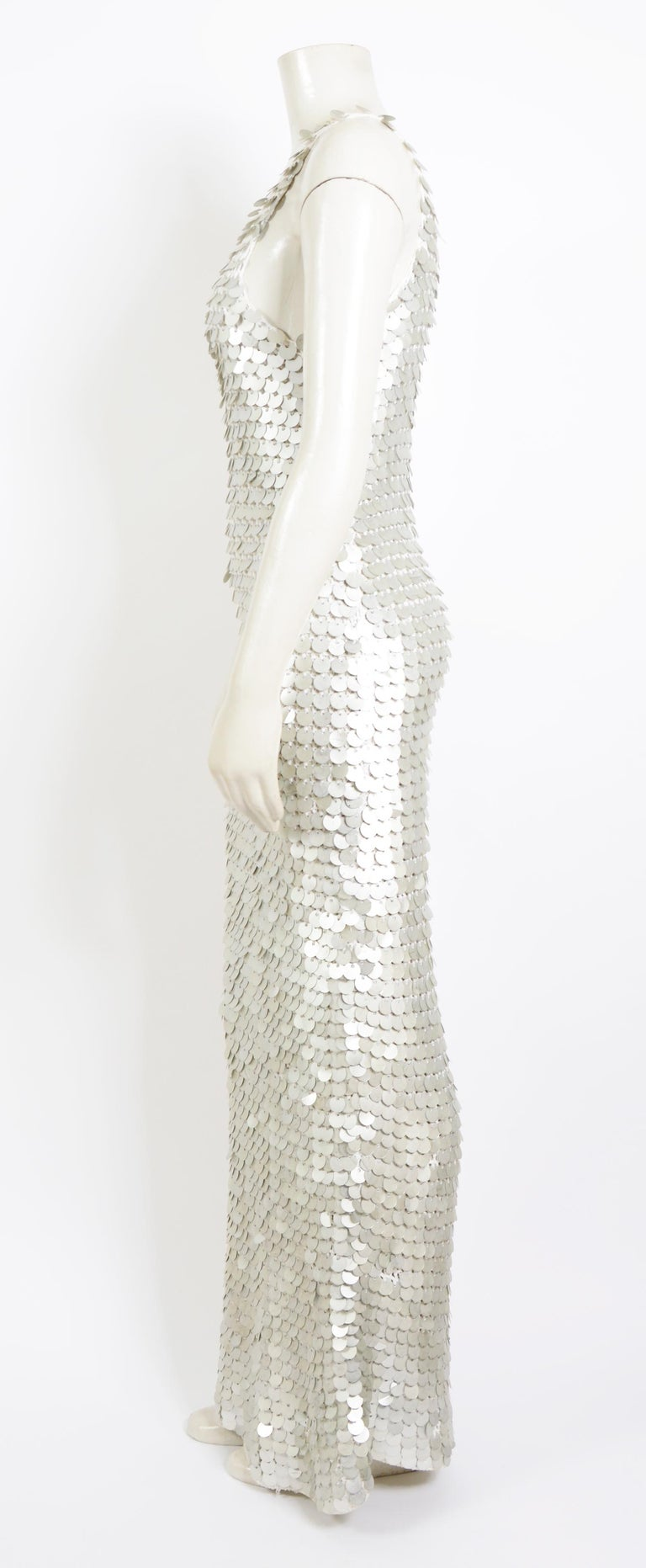Gray Vintage 1970 sheer white crochet and silver metallic disc sequins slip dress For Sale