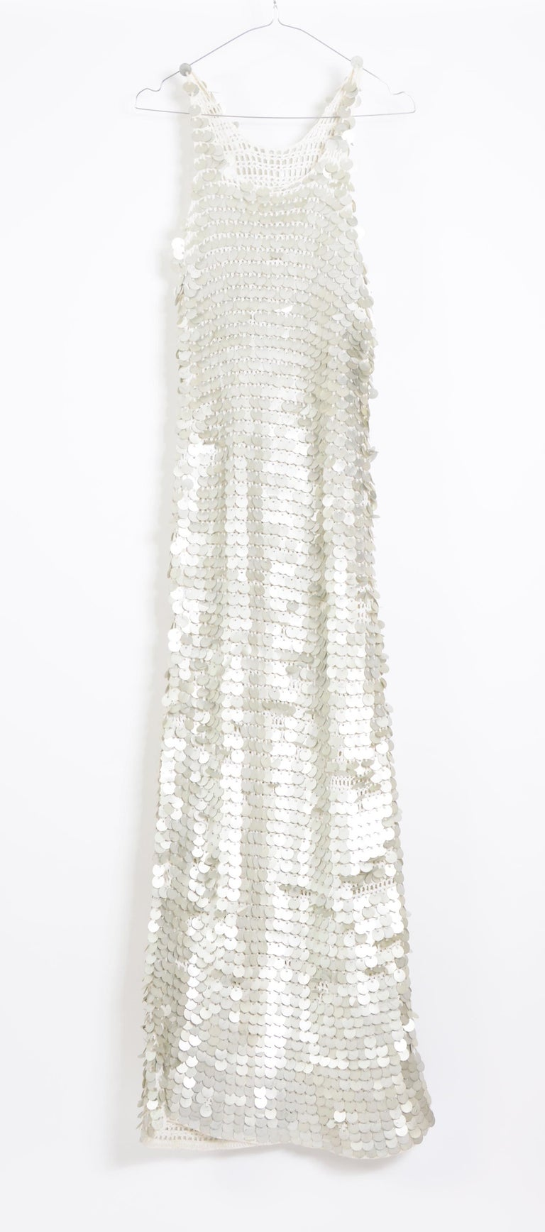 Vintage 1970 sheer white crochet and silver metallic disc sequins slip dress For Sale 1
