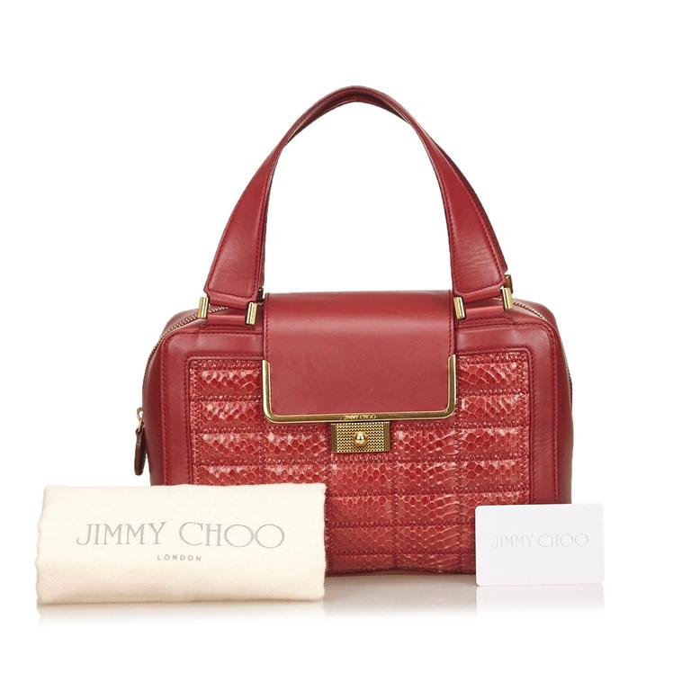 Jimmy Choo Red Python Leather Hand Bag For Sale at 1stdibs