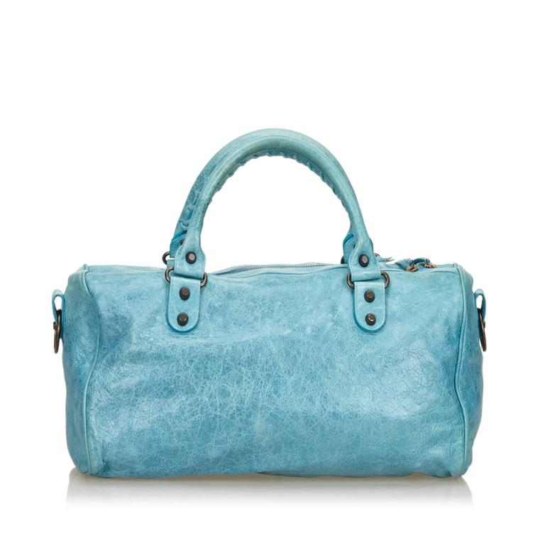 Blue Leather Motocross Twiggy Hand Bag For Sale 2