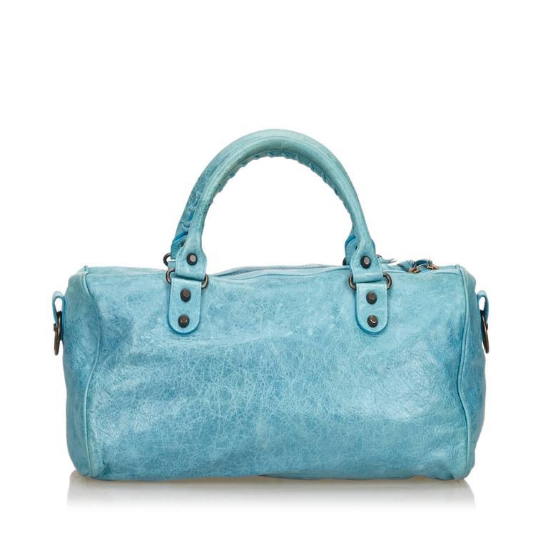 Blue Leather Motocross Twiggy Hand Bag 6