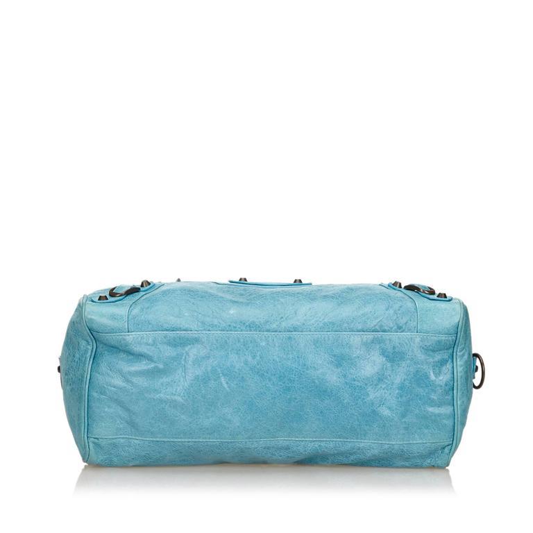 Blue Leather Motocross Twiggy Hand Bag 5