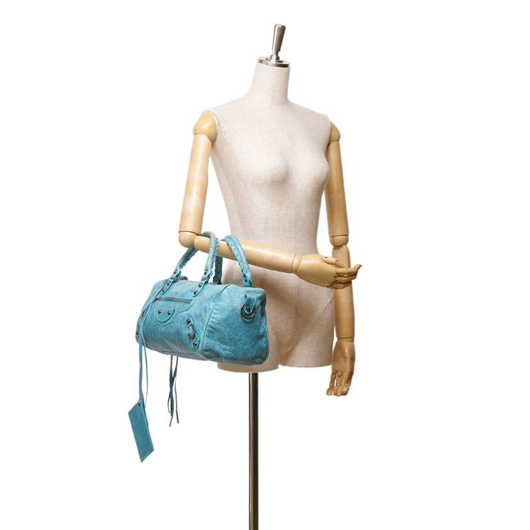 Blue Leather Motocross Twiggy Hand Bag For Sale 3