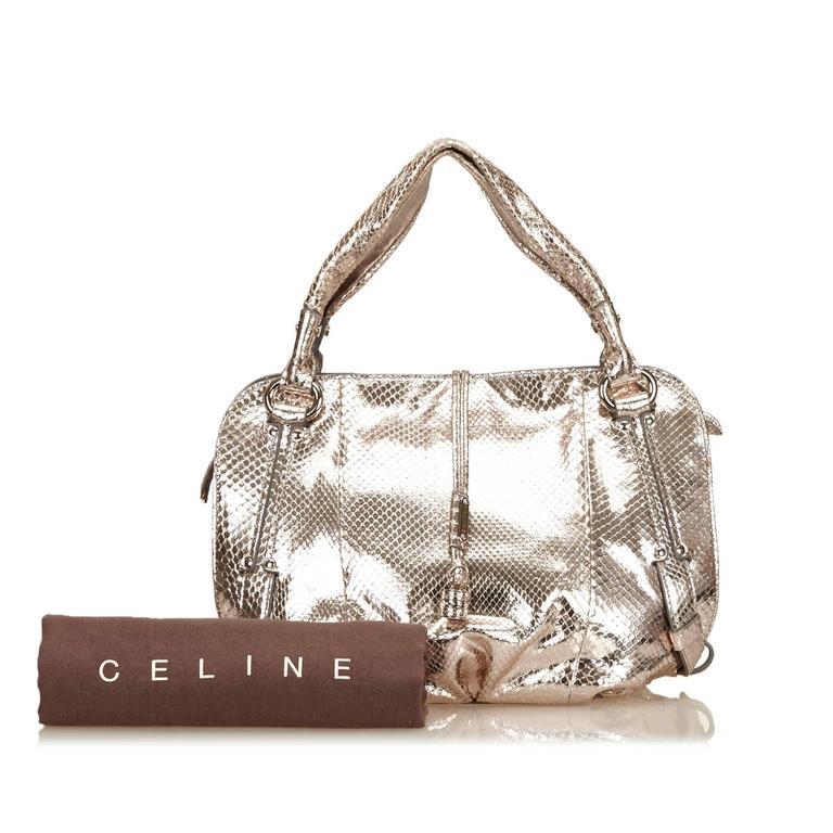 Celine Gold Metallic Python Leather Bittersweet Shoulder Bag 6