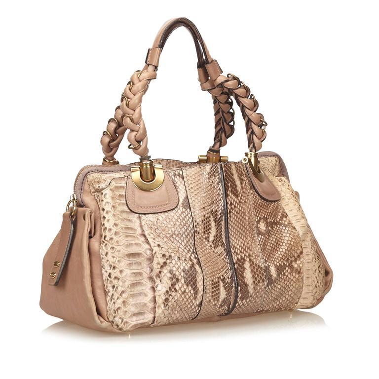 Chloe Brown Python Heloise Hand Bag For Sale At 1stdibs
