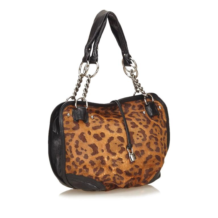 Celine Brown Leopard Print Pony Hair Bittersweet Shoulder Bag 3