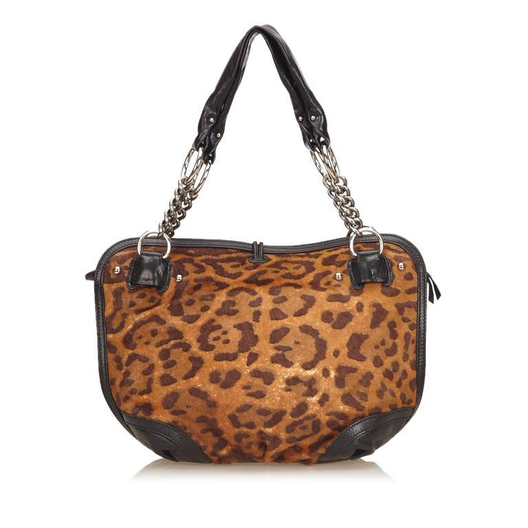 Celine Brown Leopard Print Pony Hair Bittersweet Shoulder Bag 6
