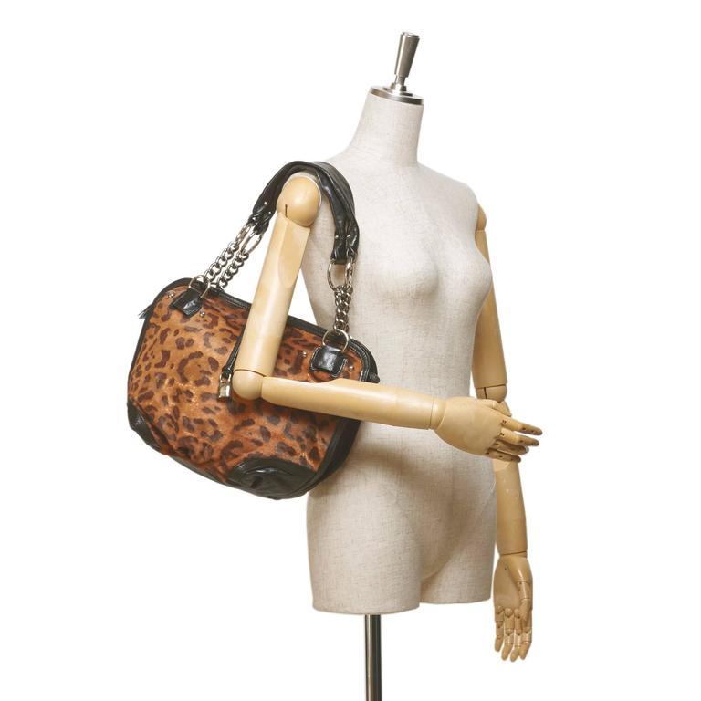Celine Brown Leopard Print Pony Hair Bittersweet Shoulder Bag 7
