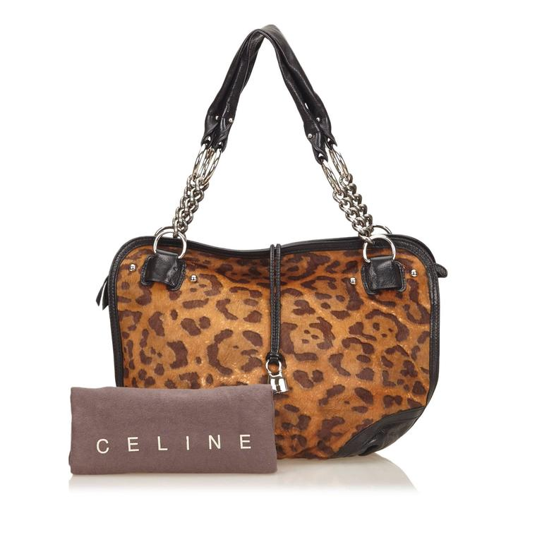 Celine Brown Leopard Print Pony Hair Bittersweet Shoulder Bag 8