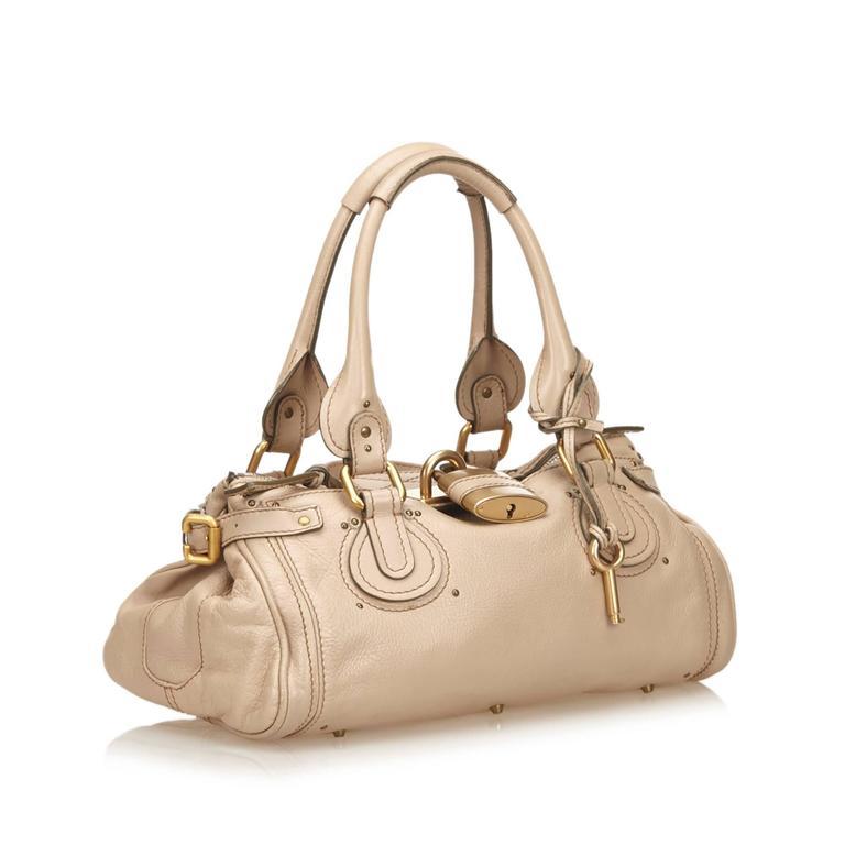 Women's Chloe Beige Leather Paddington Shoulder Bag  For Sale