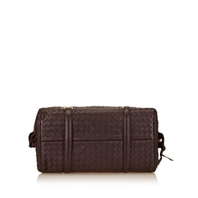 11ef1032e1af Black Bottega Veneta Brown Studded Leather Intrecciato Shoulder Bag For Sale