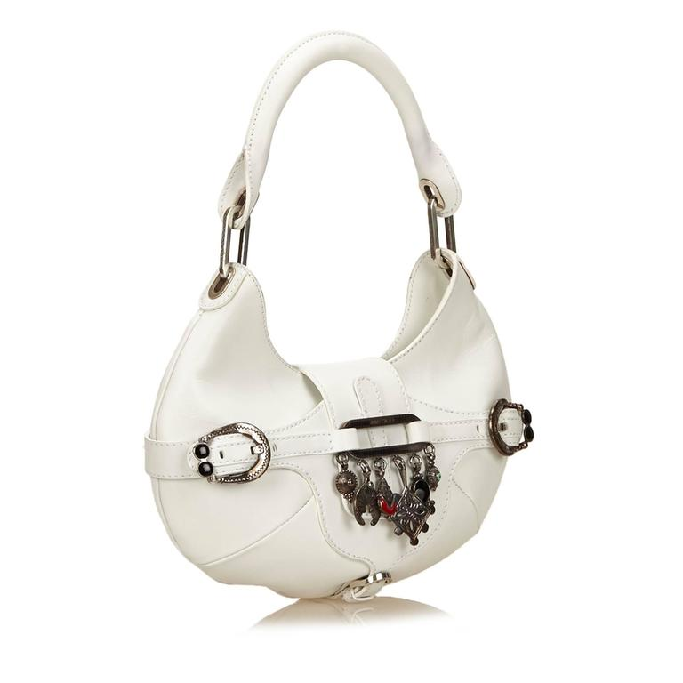 Jimmy Choo White Leather Charm Handbag 6