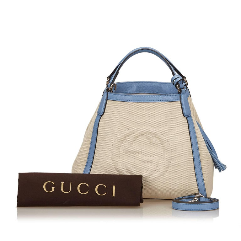 Gucci White Soho Canvas Handbag 9