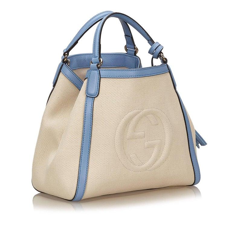 Gucci White Soho Canvas Handbag 2