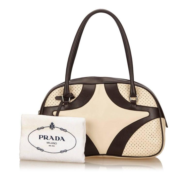 Prada White Perforated Leather Handbag For Sale at 1stdibs b746f7cfee7f1