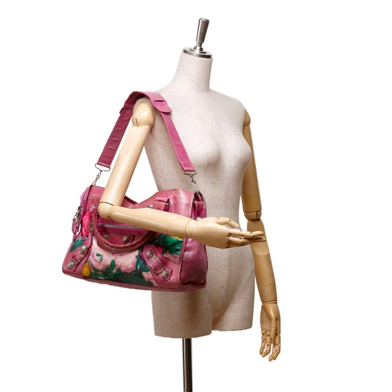Balenciaga Purple Motocross Giant City Floral Bag For Sale 3
