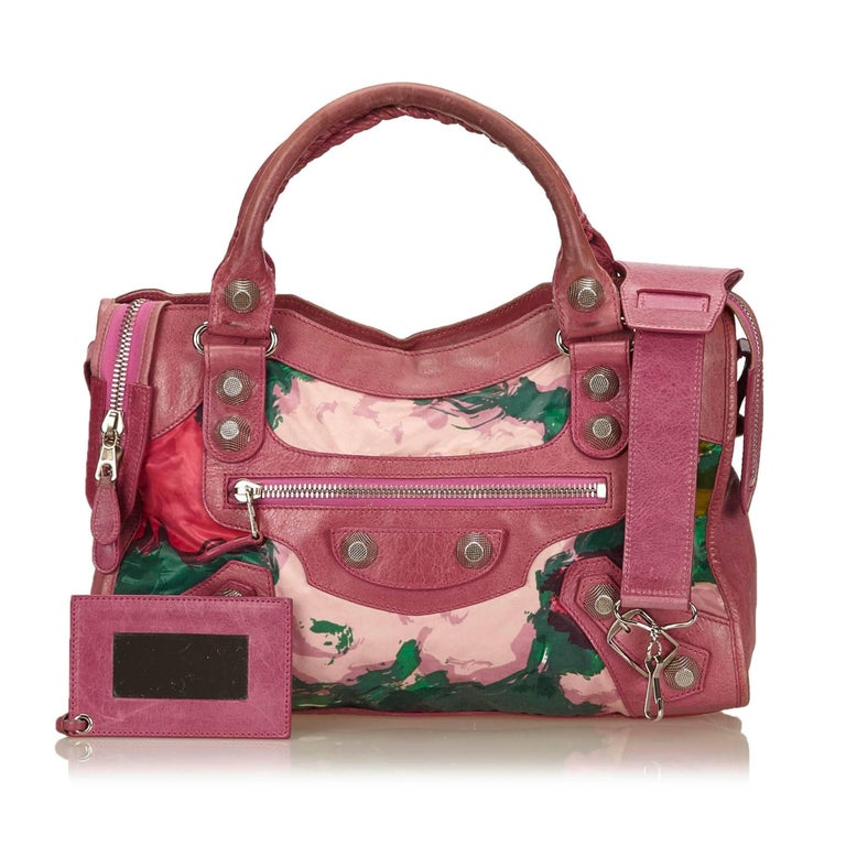 Balenciaga Purple Motocross Giant City Floral Bag For Sale 4