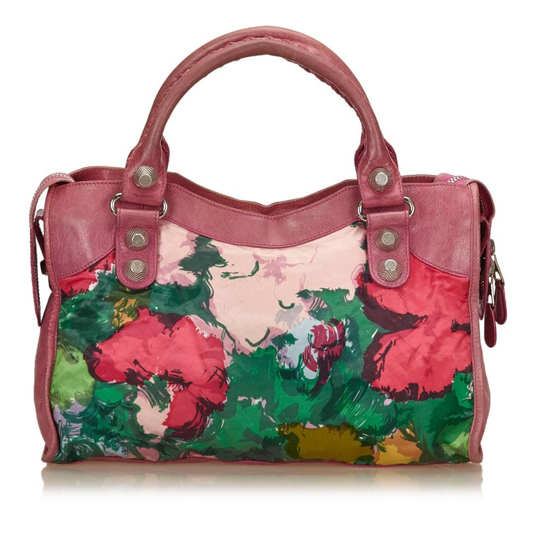 Balenciaga Purple Motocross Giant City Floral Bag In Good Condition For Sale In Orlando, FL