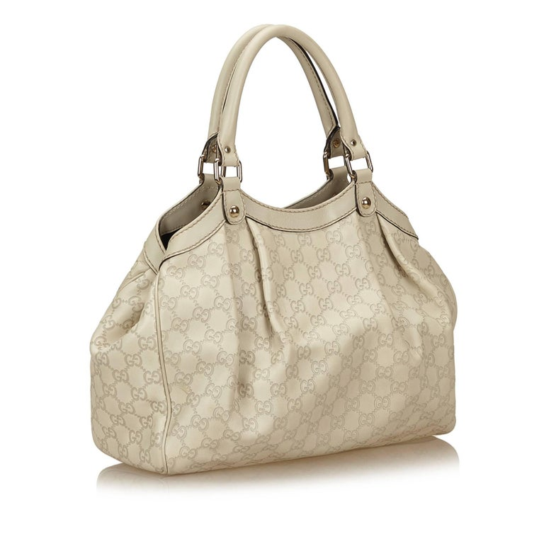 64b4e3261687 GUCCI Brown Sukey GG Canvas Tote Bag Gucci Sukey Python Bag: Gucci White Leather  Sukey GG Handbag For Sale At 1stdibs