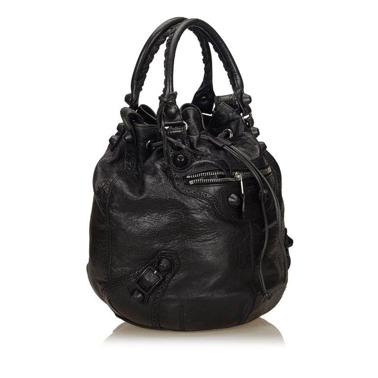 Balenciaga Black Motocross Classic Pompon Bag For Sale at ...