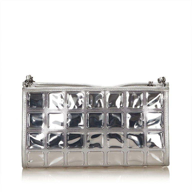 2c7418c4923c Chanel Silver Ice Cube Flap Bag In Good Condition For Sale In Orlando, FL